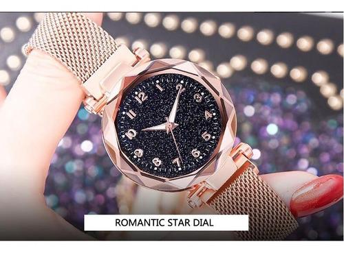 relógio feminino rosê barato bonito elegante céu estrelado