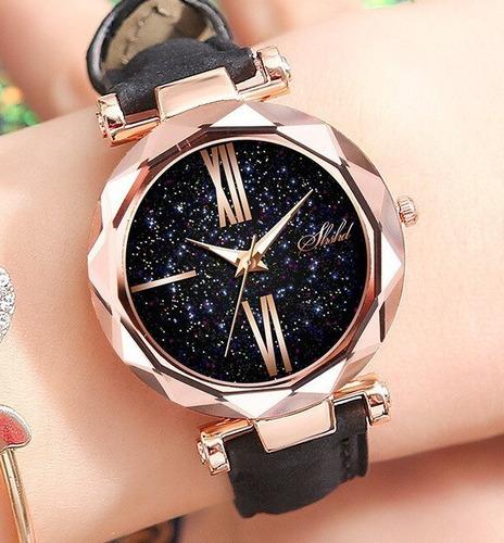 relógio feminino rosê bom e barato universo couro lindo