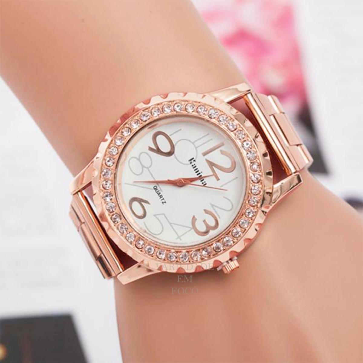 5926ab57745 relógio feminino rose com strass de luxo lindo kanima barato. Carregando  zoom.