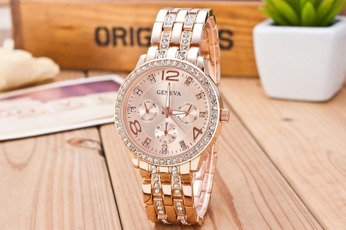 relógio feminino rose strass calendário geneva frete grátis