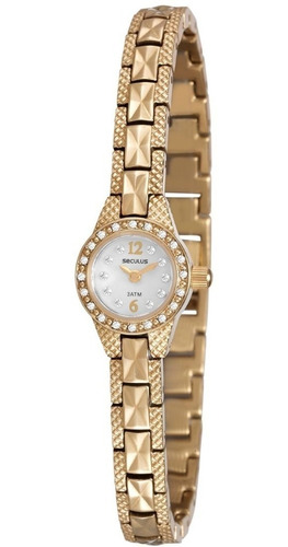 relógio feminino seculus dourado 20452lpsvda1 c/nota fiscal
