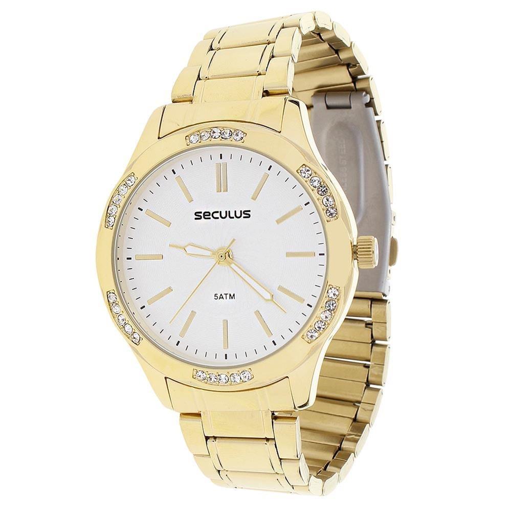 bfa1b3f8e71 relógio feminino seculus dourado 5atm 23464. Carregando zoom.