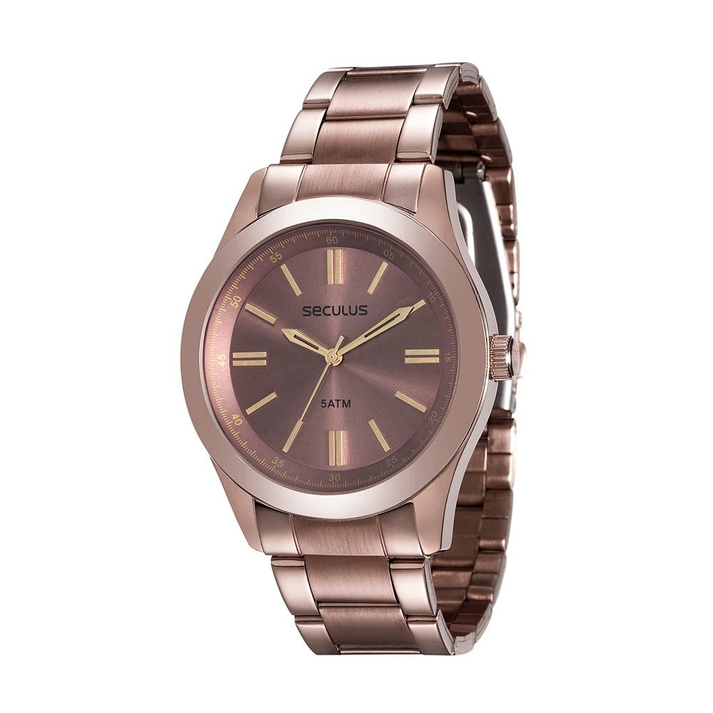 38aacaa9518 relógio feminino seculus em aço marrom 28813lpsvma2. Carregando zoom.