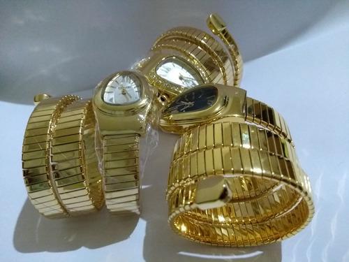 relógio feminino serpente cobra dourado preto branco strass