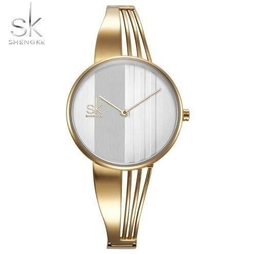 cad410297ea Relógio Feminino Shengke Da Moda Quartzo Dourado - R  105