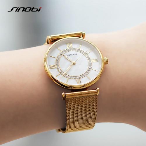 5c59a456de2 Relógio Feminino Sinobi Dourado ouro Aço Inoxidável 9631 - R  120