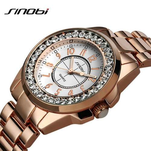 6f15d1dfe27 Relógio Feminino Sinobi Dourado ouro Aço Inoxidável - R  99