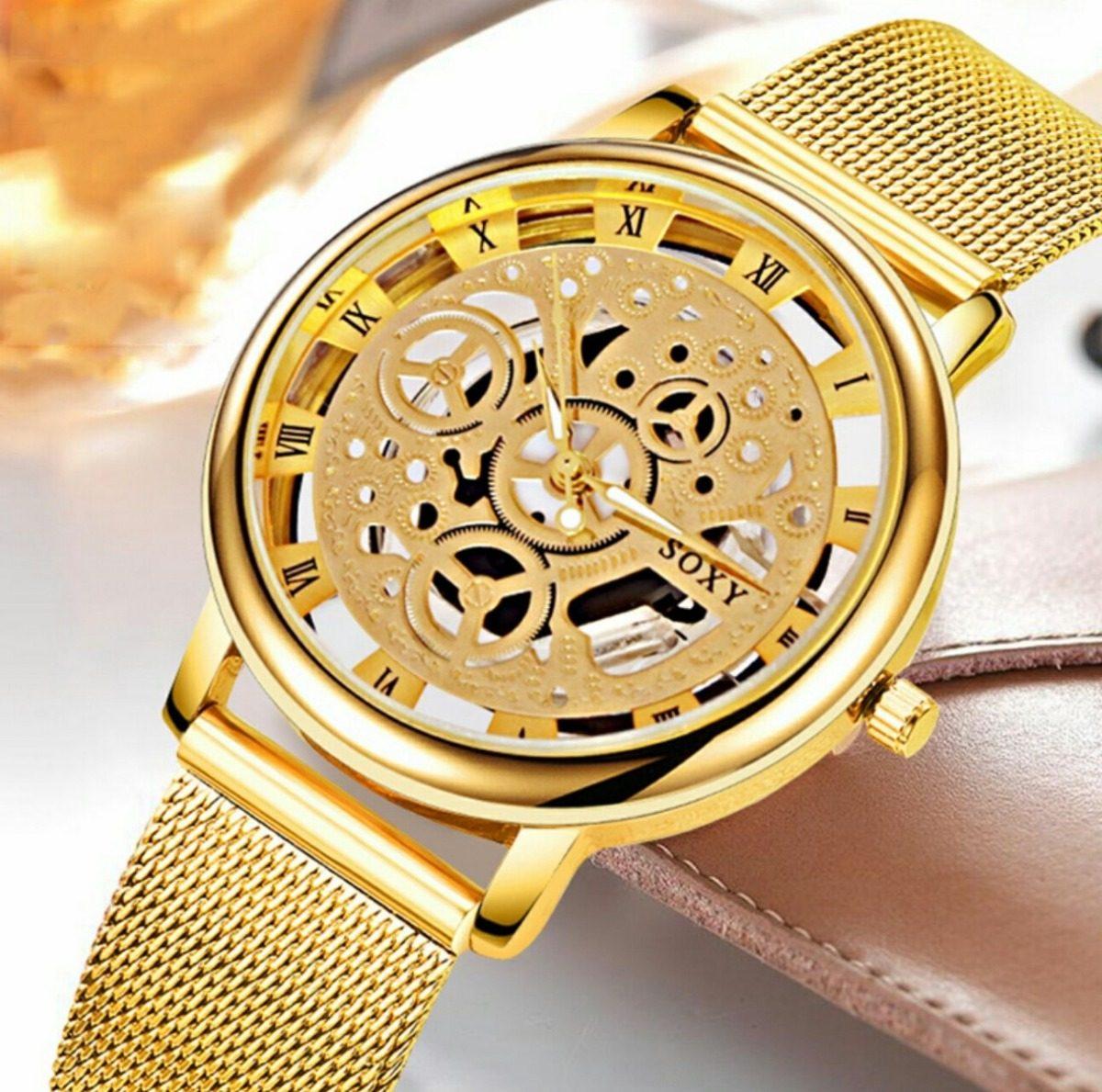 b84d817259 relógio feminino skeleton dourado prata promoção barato novo. Carregando  zoom.