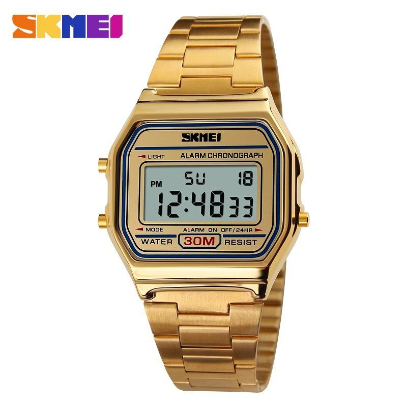 5ab43a138 relógio feminino skmei digital 1123 dourado + brinde. Carregando zoom.