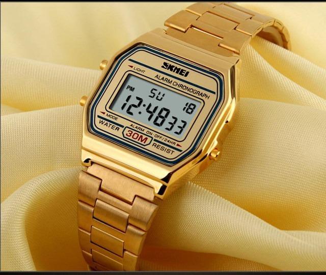 f0931940f4b Relógio Feminino Skmei Digital 1123 Dourado Envio-imediato - R  83 ...