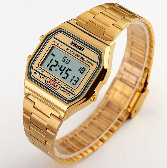 b7d540cab96 Relógio Feminino Skmei Digital Dourado Estilo Casio Vintage - R  75 ...