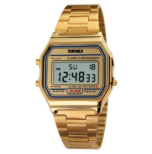 b86acd0900e Relógio Feminino Skmei Digital Dourado Estilo Casio Vintage - R  75 ...