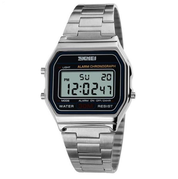 4433a4718ba Relógio Feminino Skmei Digital Prata Estilo Casio Vintage - R  75