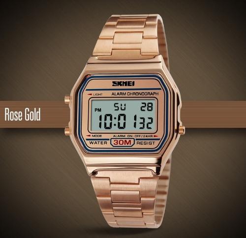 be3a3f6a917 Relógio Feminino Skmei Digital Rose Estilo Casio Vintage - R  75