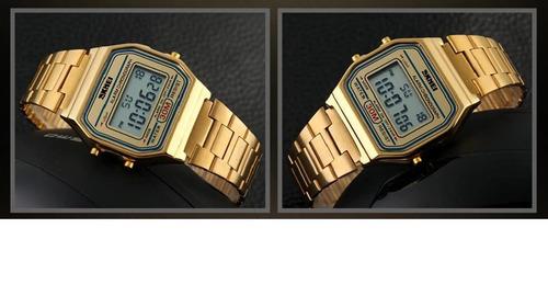 ce46a6a1c2f Relógio Feminino Skmei Retro Digital 1123 Dourado Com Caixa - R  119 ...
