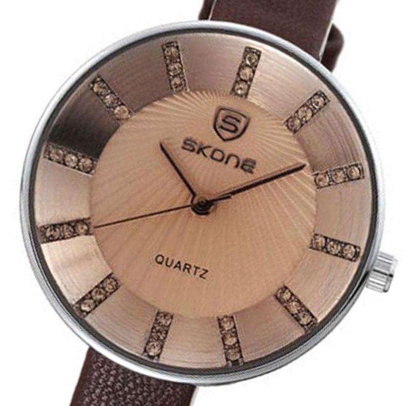 3c55eb7ff54 relógio feminino skone analógico casual marrom 9250. Carregando zoom.