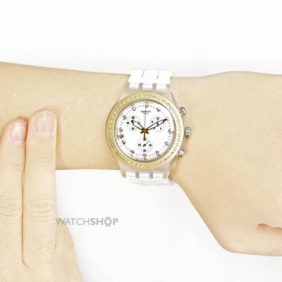 1a83fb14759 Relogio Feminino Swatch Svck4068ag Full Blooded Branco Origi - R ...