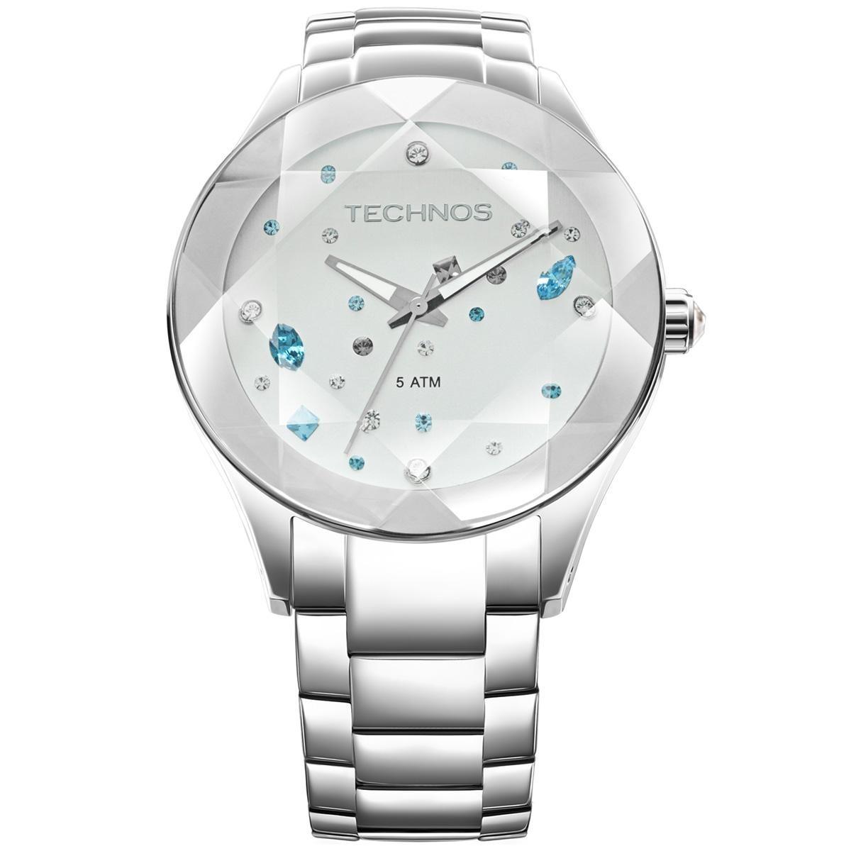 fe162accdcc Relógio Feminino Technos Elegance Crystal 2039avdtm 1k Prata - R ...