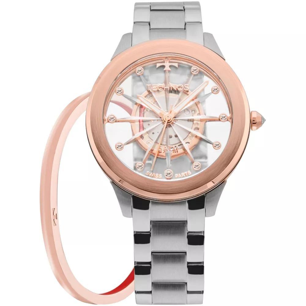 Características. Marca Technos  Modelo F03101AB K1W  Gênero Feminino   Material da correia do relógio de pulso Aço inoxidável ... bb5bd771a3