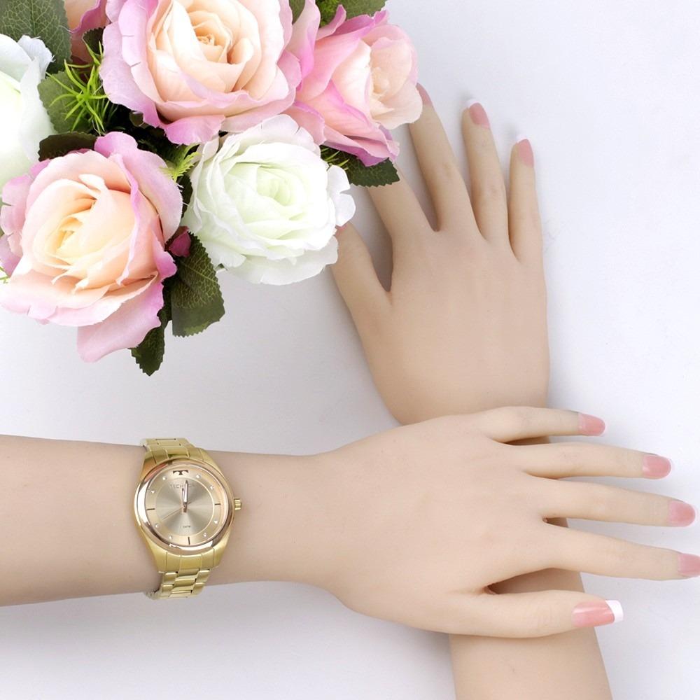 Relógio Feminino Technos Dourado Com Aro Rose 2035mkw 4x - R  299,00 ... 5753c4ce79