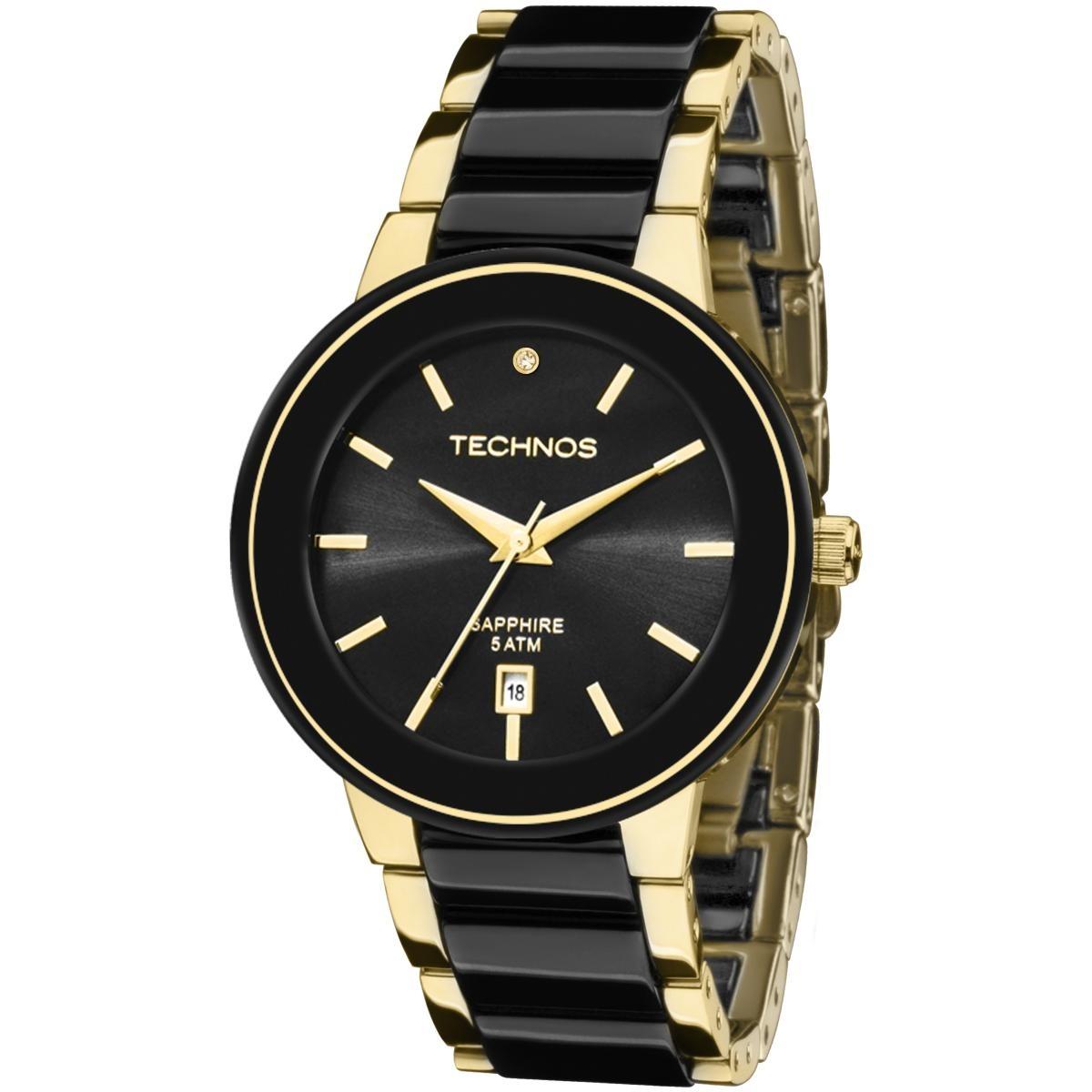 Relógio Feminino Technos Ceramic 2115krs 4p Dourado preto - R  542 ... 7d06a5cffc