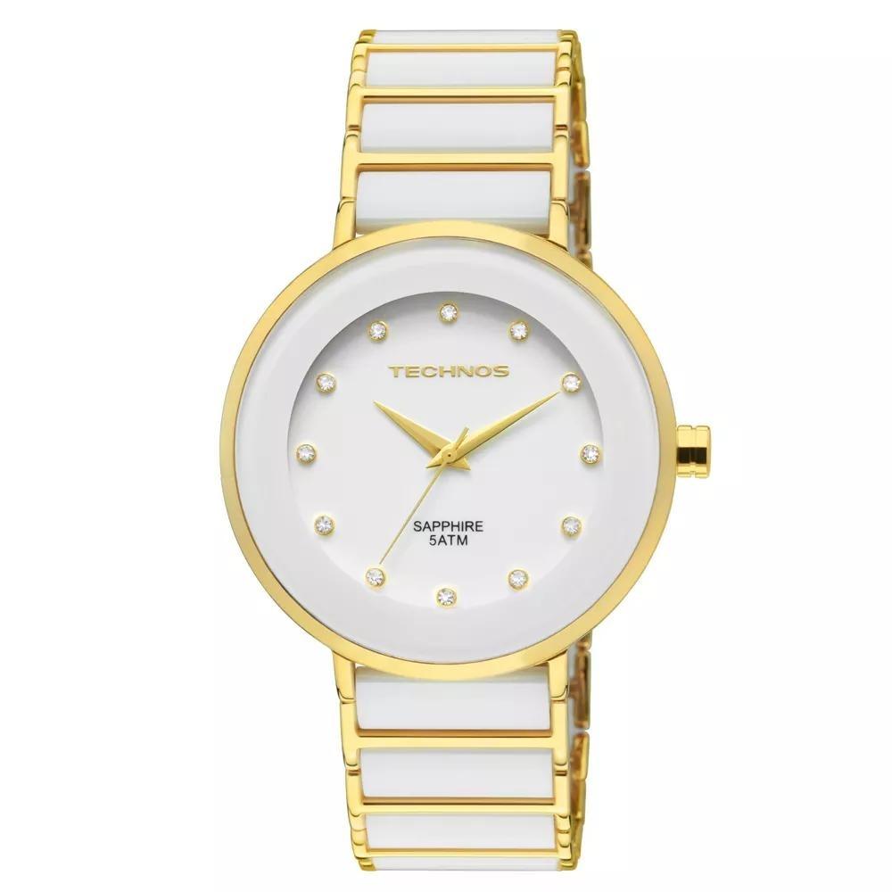9a7243160a445 Relógio Feminino Technos Ceramic 2035lmm 4b Branco dourado - R  660 ...