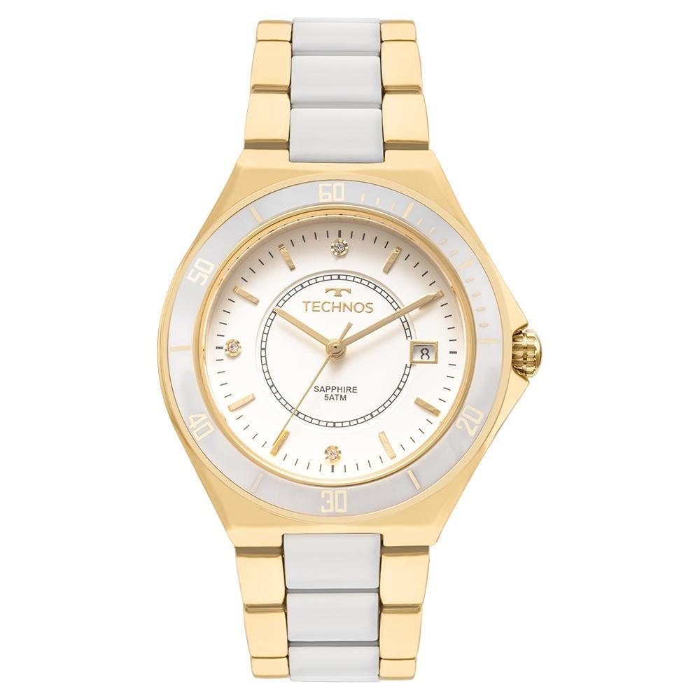 d022b80f62ada Relógio Feminino Technos 2115mmn 4b 37mm Puls Branca dourada - R ...