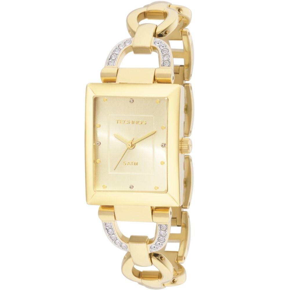f9774e72fc9d2 Relógio Feminino Technos Quadrado Dourado Em Aço 2035lyn 4x - R  433 ...