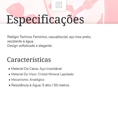 relogio feminino technos riviera 2015ccv/4p 12x s/ juros