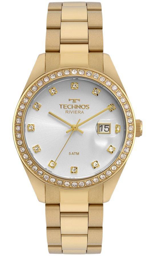 8ec9eadedb2 Relogio Feminino Technos Riviera Dourado Elegante 2115moi4k - R  401 ...