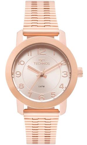 relógio feminino technos rosé 2035mlt/4j aço garantia barato