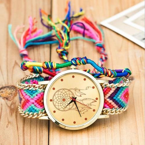 relógio feminino trançado dreamcatcher amizade da sorte g