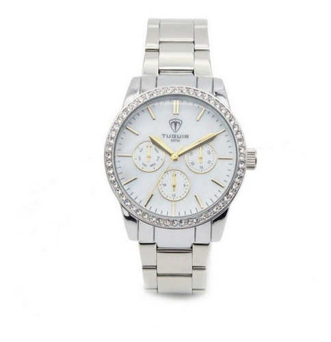 relógio feminino tuguir analógico 5028 prata super promoção