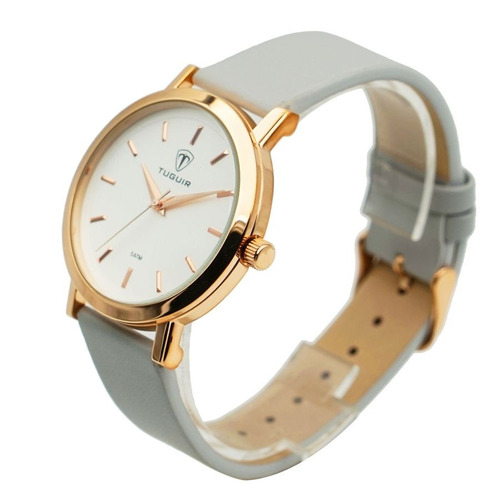 d7393fdb353 Relógio Feminino Tuguir Analógico 5442l Dourado E Branco - R  105