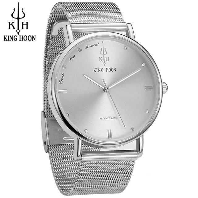 ab106a663d39b Relógio Feminino Ultra Fino Slim Aço Inox Diamante Prata - R  119,00 em  Mercado Livre