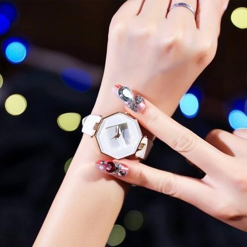 relógio feminino unissex geométrico quartz cristal luxo cour