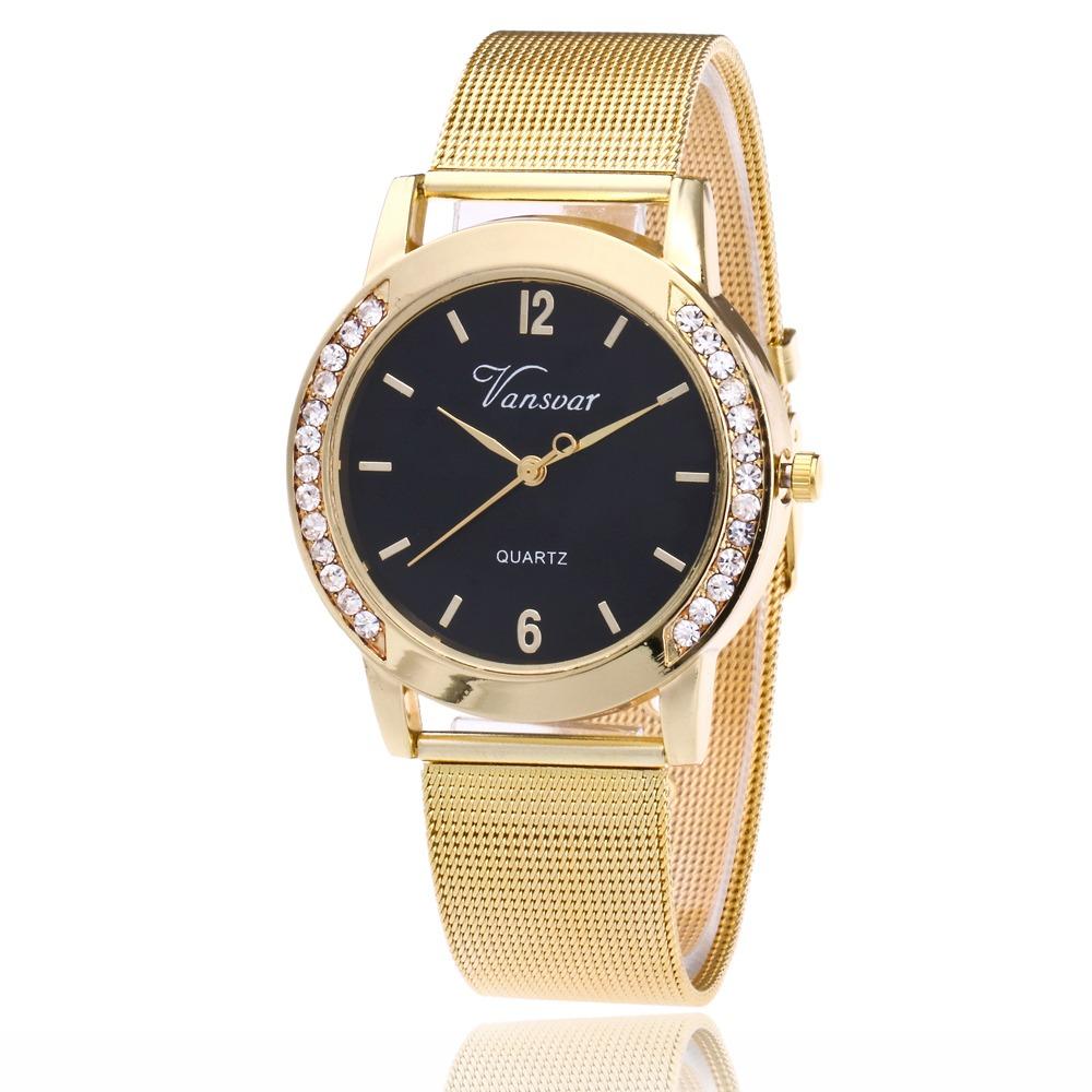 6eb6672af73 relógio feminino vansvar pulseira em malha de aço promoção. Carregando zoom.