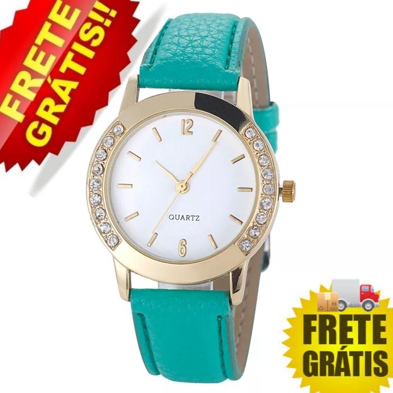 43c74524b14 relógio feminino verde com brilhantes bom barato frete grati. Carregando  zoom.