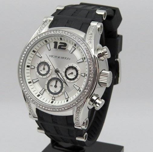 e6c51cae310 Relógio Feminino Victor Hugo Vh10062lss 04 Borracha Preto