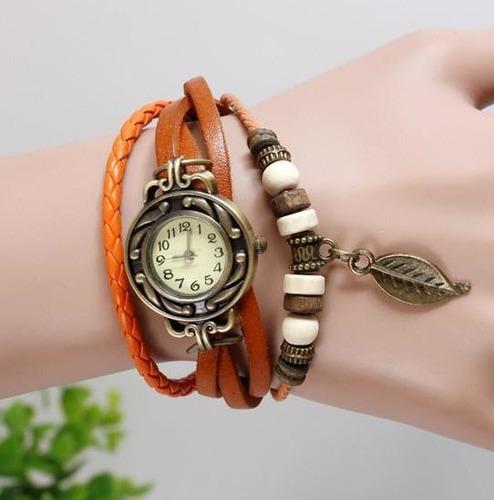 relógio feminino vintage pulseira couro pingente de folha