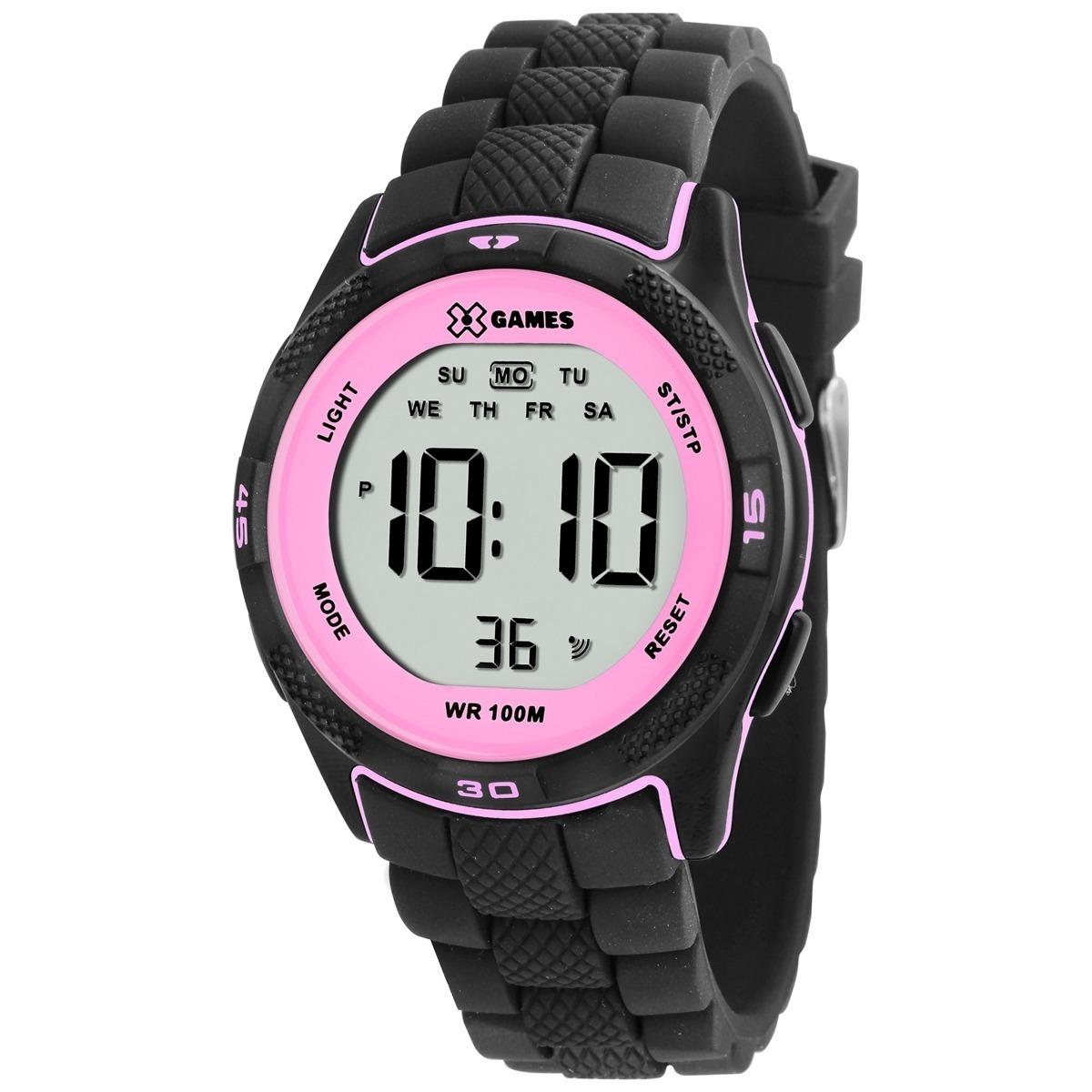 ce9d9647e60 relógio feminino x-games xmppd353 bxpx digital preto rosa. Carregando zoom.