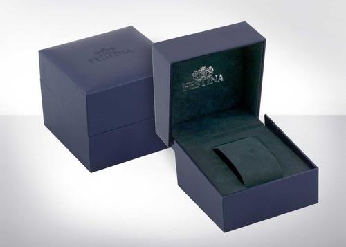 relógio festina chronograph couro azul f20377/2