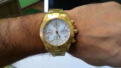 relógio festina daytona cronografo ouro maciço 18k 106,4 gr
