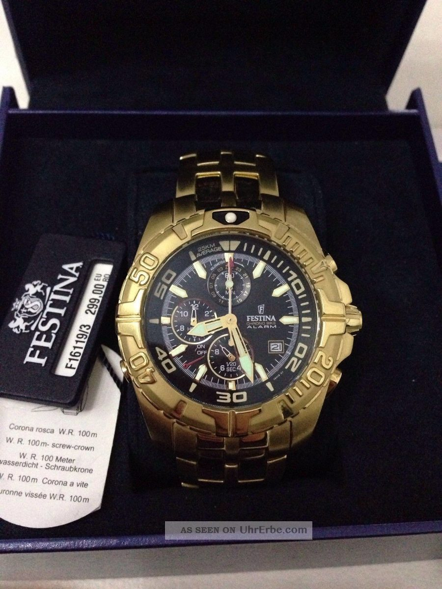 ed4f9f6b79d relógio festina dourado f16119-3 original garantia 2 anos. Carregando zoom.