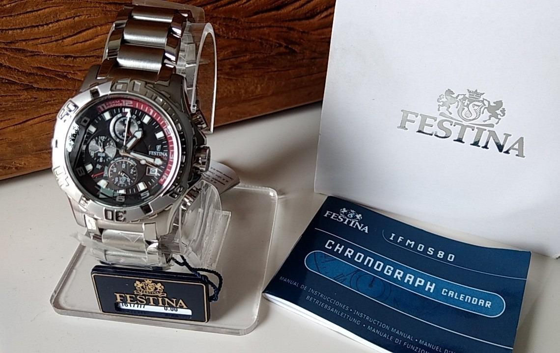 ccdcc781e21 relógio festina f16177 8 chrono bike prata com fundo preto. Carregando zoom.