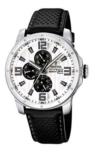 relógio festina masculino couro preta - f16585/5