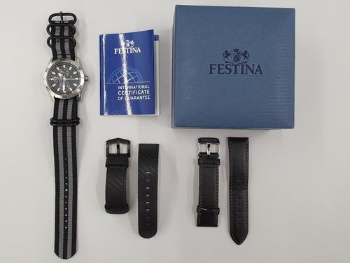 relógio festina original f16607/4 com 2 pulseiras brinde