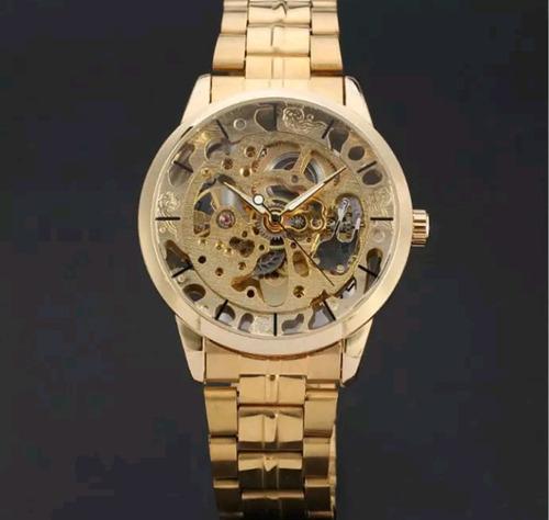 relógio forsining esqueleto  dourado original  com garantia