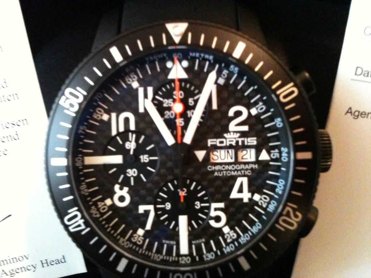 625b78906de Relogio Fortis B-42 Cronografo Titânio Pvd Pt Aviador Suiço - R ...