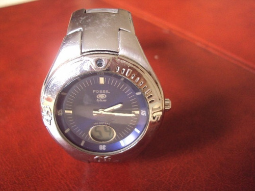 relógio fóssil blue segundos digital